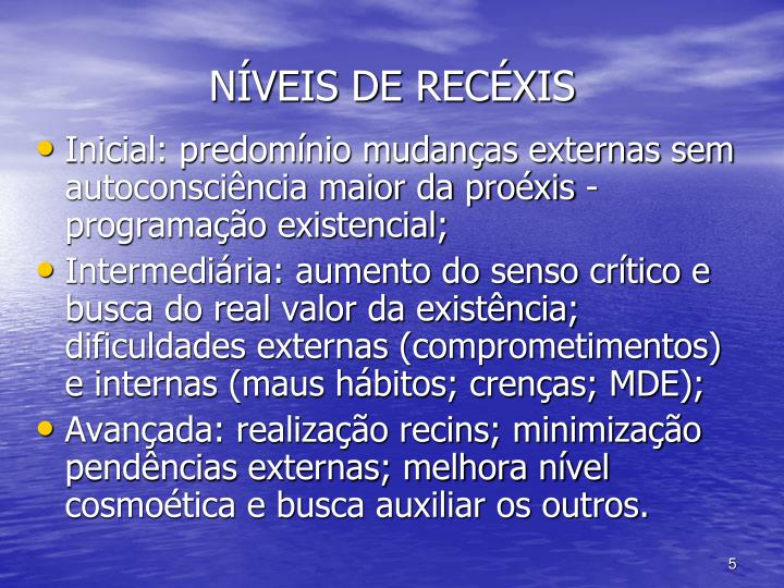 NÍVEIS DE RECÉXIS