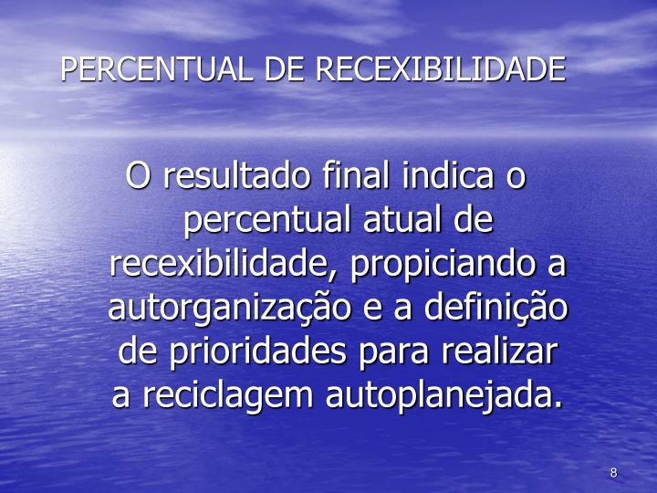 PERCENTUAL DE RECEXIBILIDADE