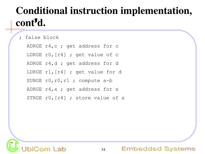 Conditional instruction implementation, cont