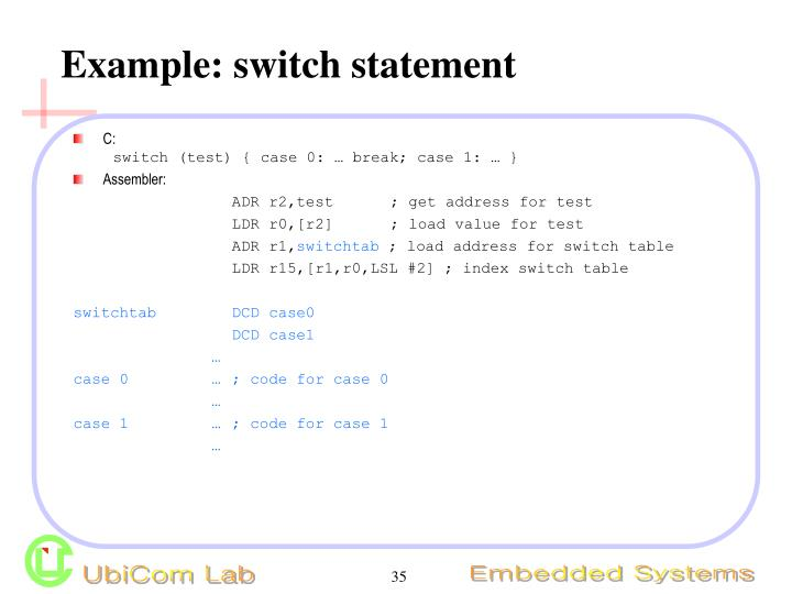 Example: switch statement