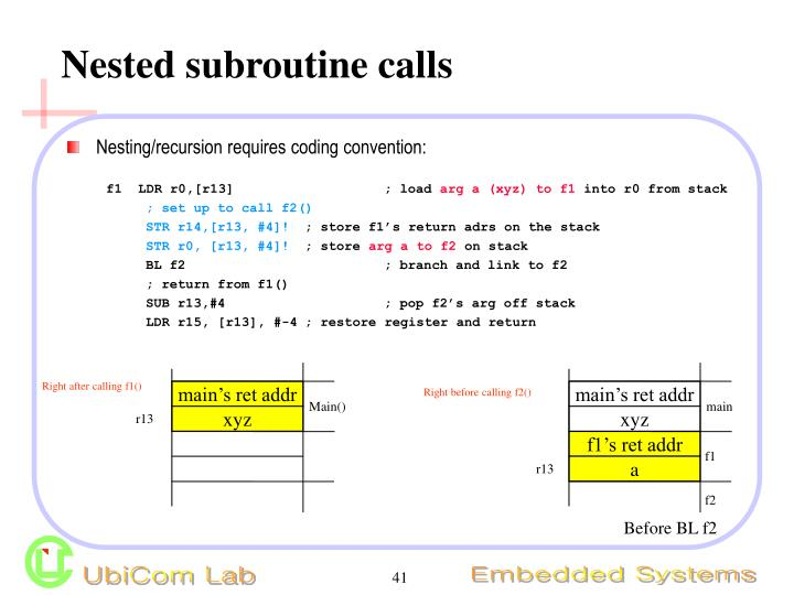 Nested subroutine calls