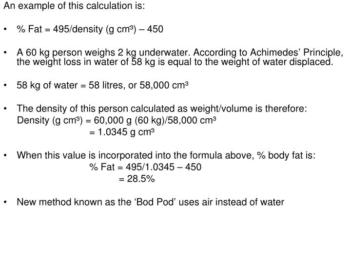 An example of this calculation is: