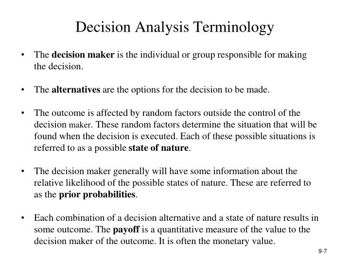 Decision Analysis Terminology
