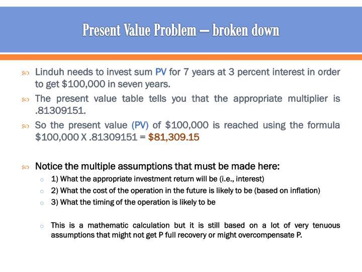 Present Value Problem – broken down