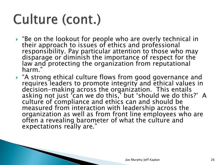 Culture (cont.)