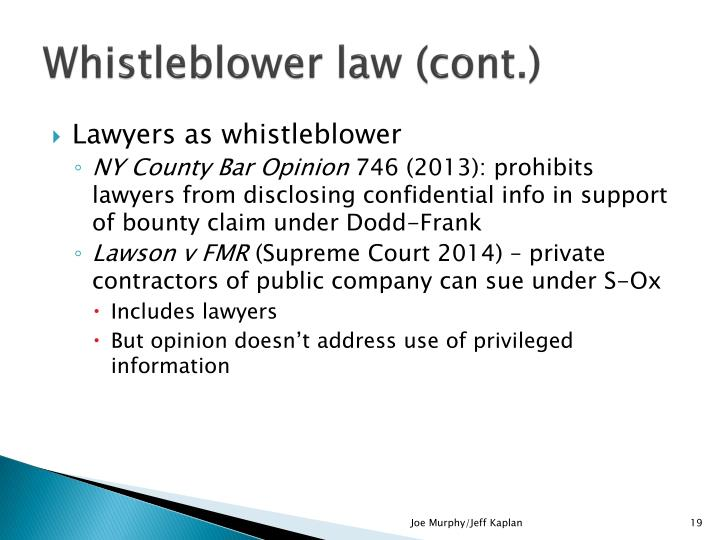 Whistleblower law (cont.)