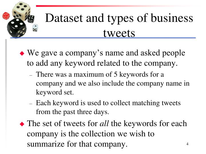 Dataset and types of business tweets