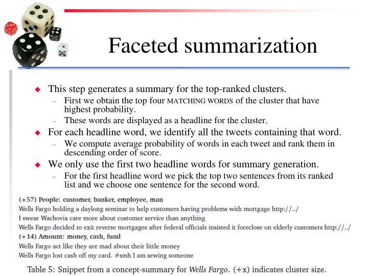 Faceted summarization