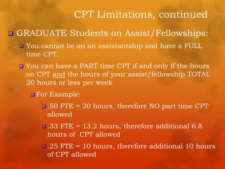 CPT Limitations, continued