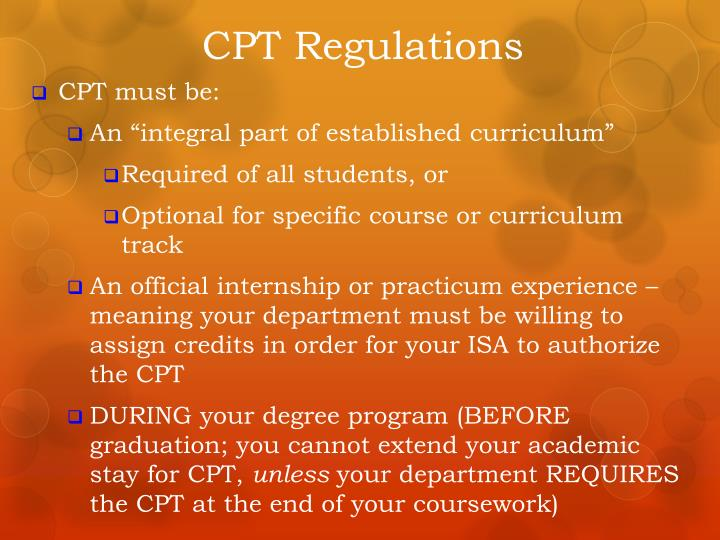 CPT Regulations
