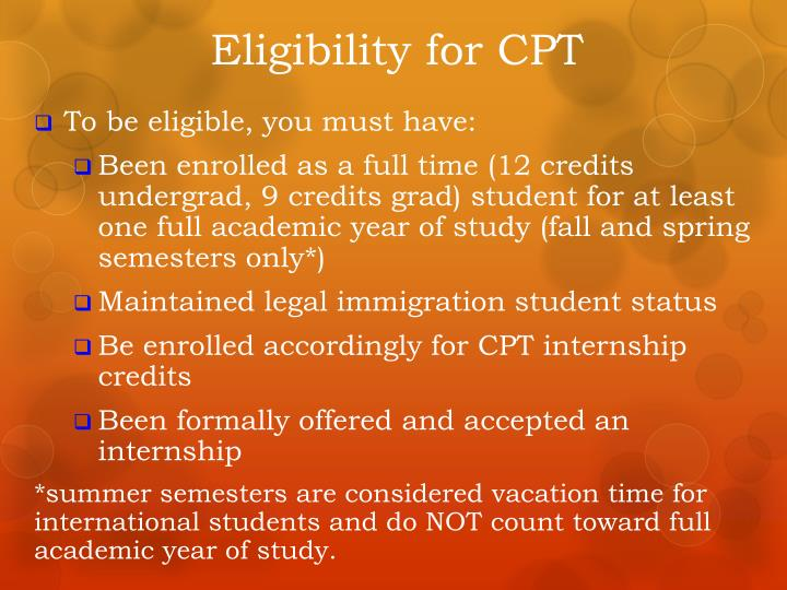 Eligibility for CPT