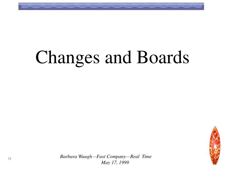Changes and Boards