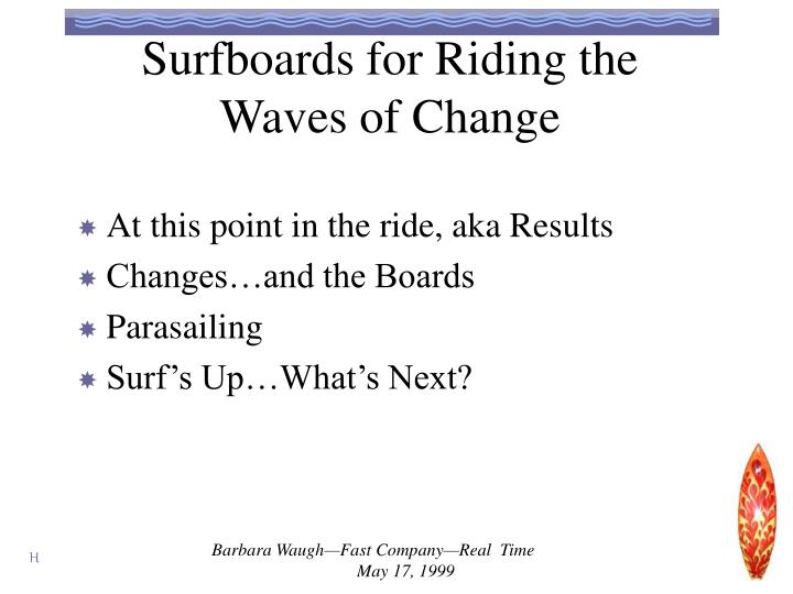 Surfboards for riding the waves of change1
