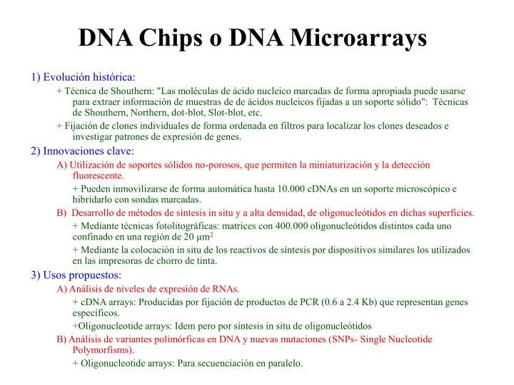 DNA Chips o DNA Microarrays
