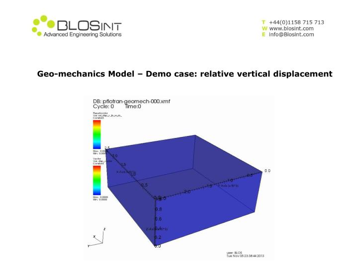 Geo-mechanics Model – Demo case: relative vertical displacement