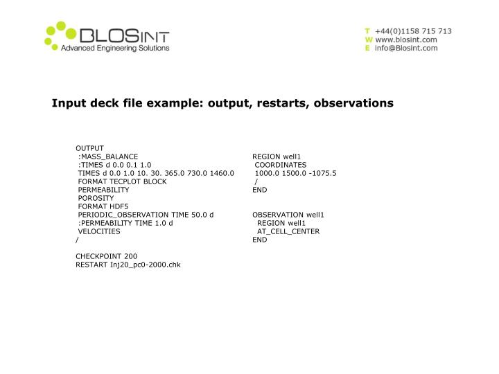 Input deck file example: output, restarts, observations