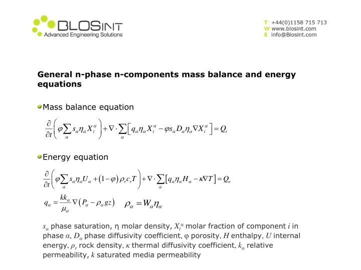 General n-phase n-components mass balance and energy equations