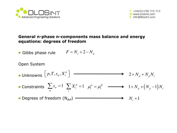 General n-phase n-components mass balance and energy equations: degrees of freedom