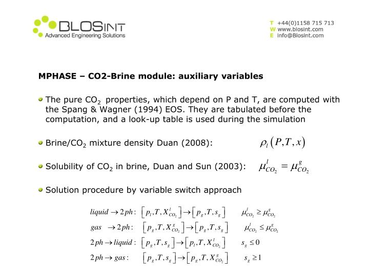 MPHASE – CO2-Brine module: auxiliary variables