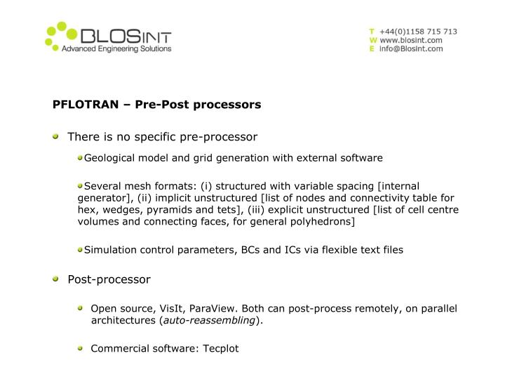 PFLOTRAN – Pre-Post processors