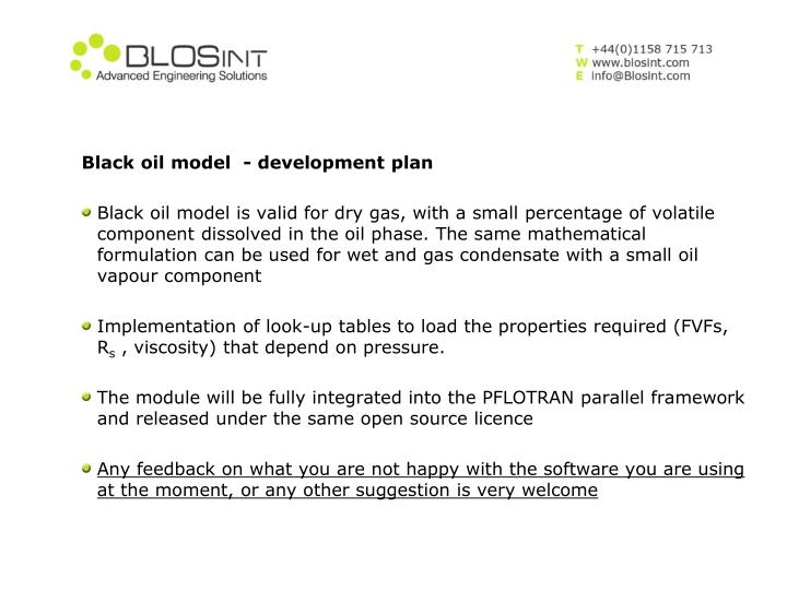 Black oil model  - development plan