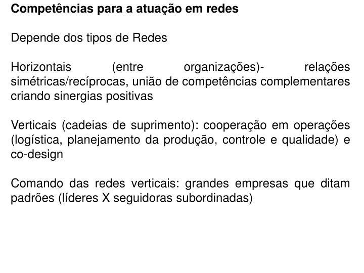 Competências para a atuação em redes