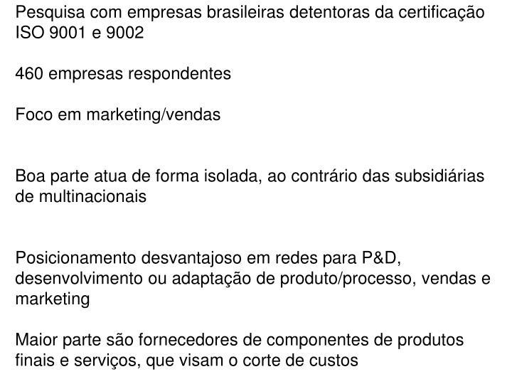 Pesquisa com empresas brasileiras detentoras da certificação ISO 9001 e 9002