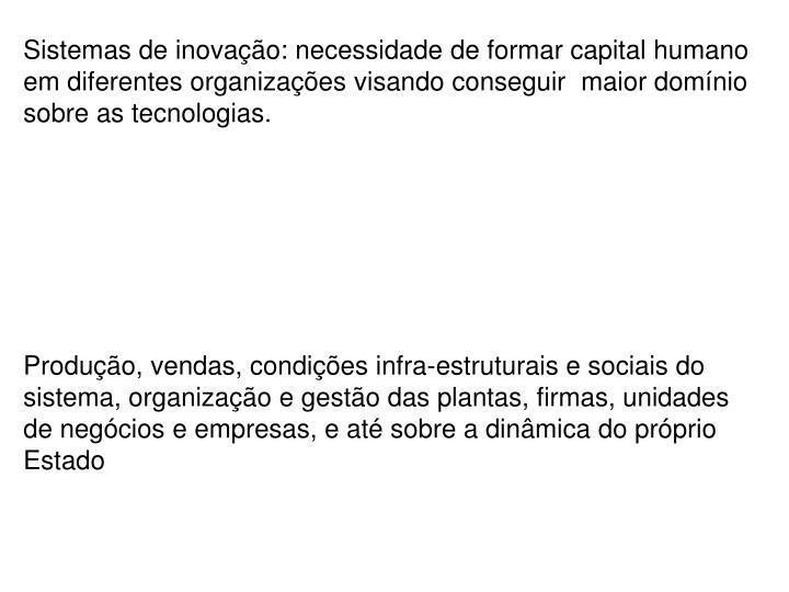 Sistemas de inovação: necessidade de formar capital humano em diferentes organizações visando conseguir