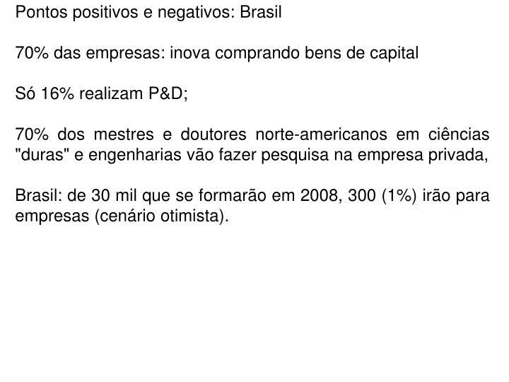 Pontos positivos e negativos: Brasil