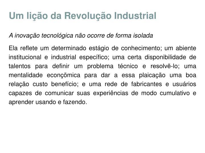 Um lição da Revolução Industrial