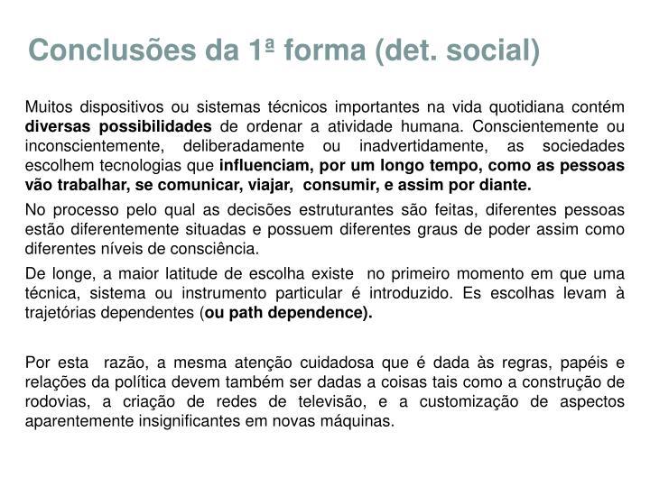Conclusões da 1ª forma (det. social)