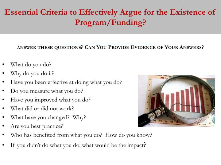 Essential Criteria to Effectively Argue for the Existence of Program/Funding?