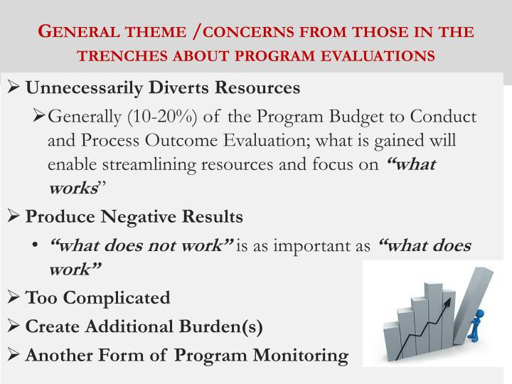 General theme /concerns from those in the trenches about program evaluations