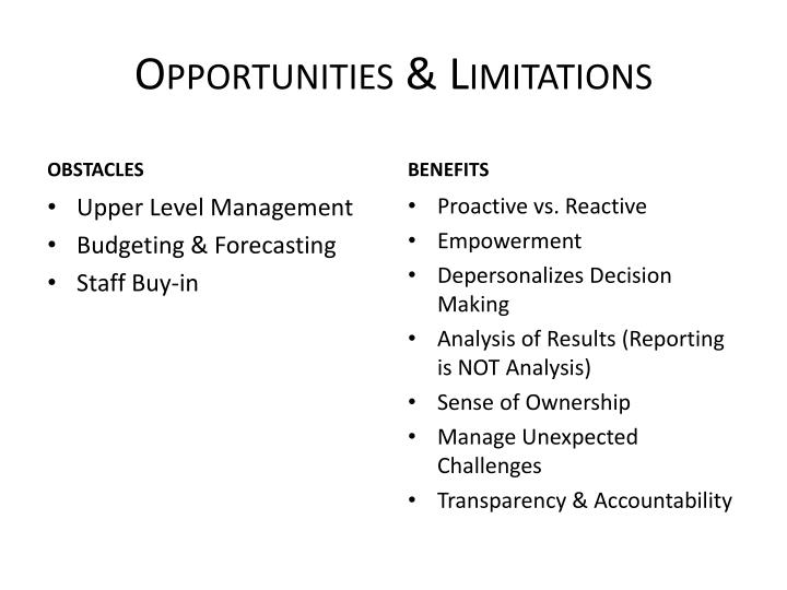 Opportunities & Limitations
