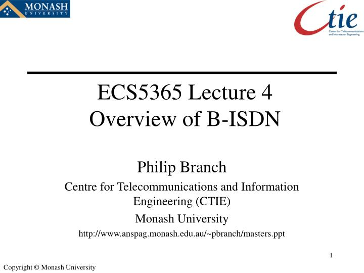 Ecs5365 lecture 4 overview of b isdn
