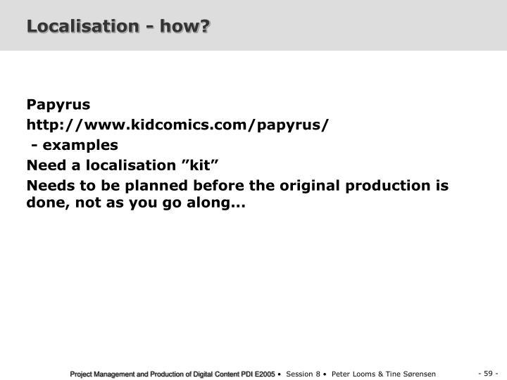 Localisation - how?
