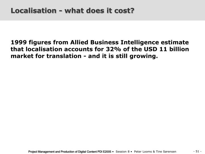 Localisation - what does it cost?