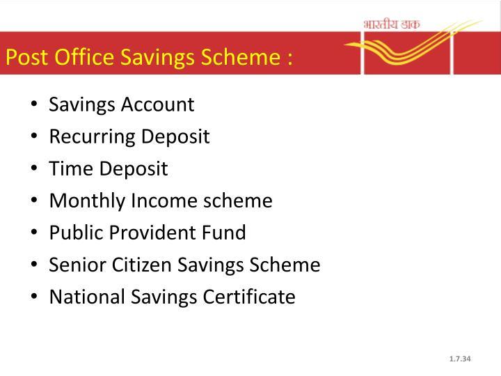 Post Office Savings Scheme :