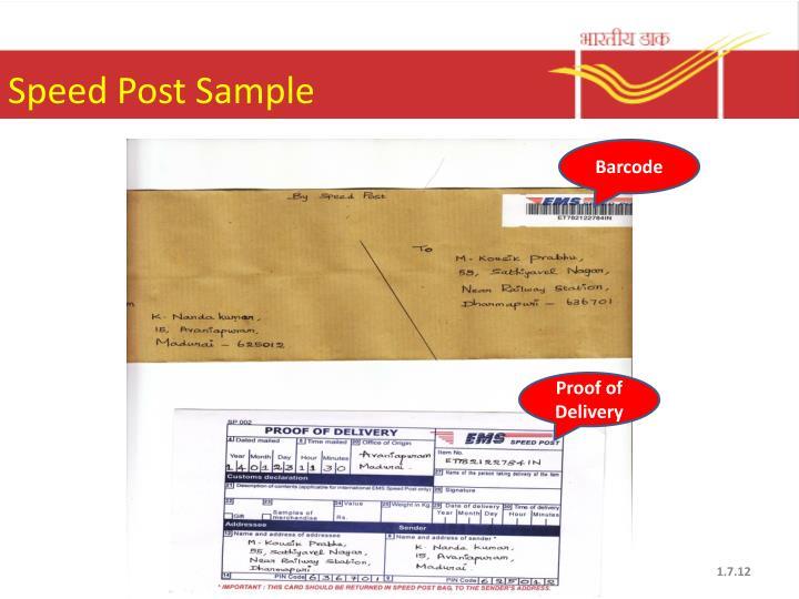 Speed Post Sample
