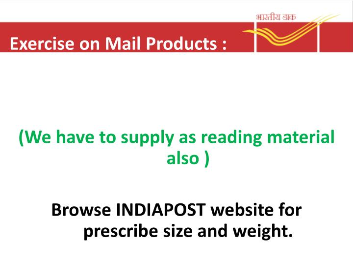 Exercise on Mail Products :