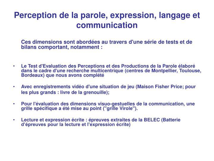 Perception de la parole, expression, langage et communication