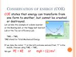 conservation of energy coe