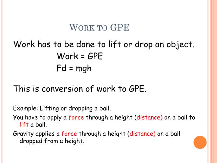 Work to GPE