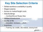 key site selection criteria