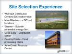 site selection experience