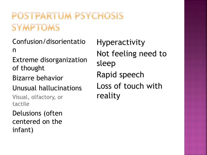 Postpartum Psychosis Symptoms