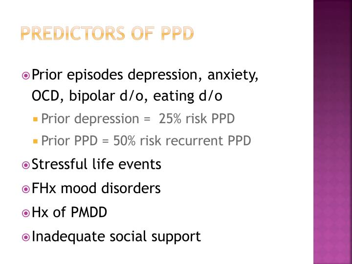 Predictors of PPD