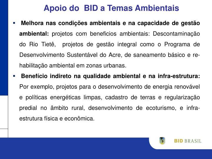 Apoio do  BID a Temas Ambientais