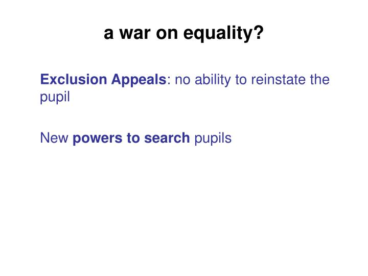 a war on equality?