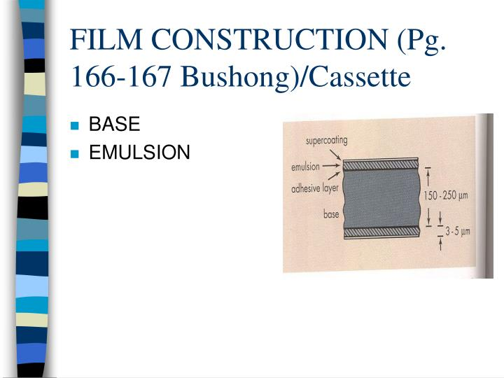 FILM CONSTRUCTION (Pg. 166-167 Bushong)/Cassette